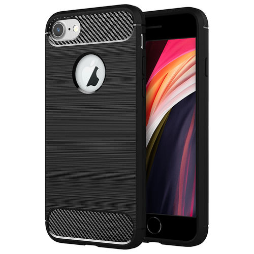 Flexi Slim Carbon Fibre Case for Apple iPhone 8 / 7 / SE (2nd Gen) - Brushed Black